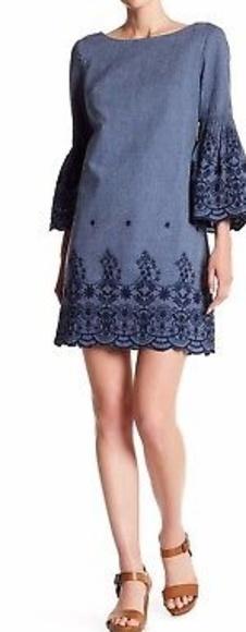 7275fdc5 Eliza J Dresses | Embroidered 34 Bell Sleeves Denim Dress | Poshmark